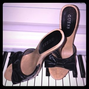 GUESS wooden,leather black high heels size 8